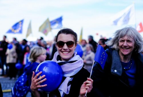 Young woman at the March for Europe, Duesseldorf, Germany, 25/03/2017